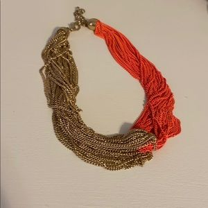 Coral and gold necklace, 17""